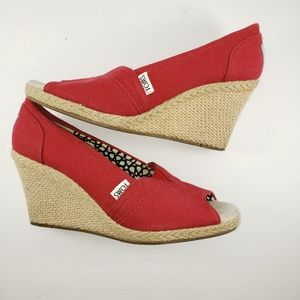 TOMS Red Peep Toe Espadrille Wedges Size 8M
